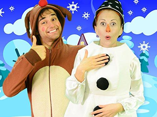 Sing wir wünschen Ihnen ein fröhliches Weihnachtslied mit Schneemann und Hirsch -
