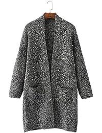 Crystallly Mujer Abrigo Tejido Otoño Invierno Colores Sólidos Cardigan con Bolsillos Moda Estilo Simple Cómodo Chaqueta