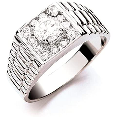 Plata Esterlina anillo de Zirconia cúbico de caballero