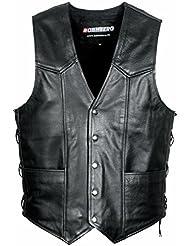 BOHMBERG Vest Gilet en cuir Premium Leather noir pour hommes