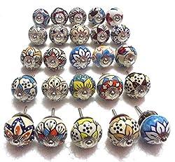 (Set of 25) Assorted Handpainted Ceramic Door Drawer Knobs