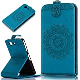 Sony Xperia Z3 Compact Hülle,Sony Xperia Z3 Compact Schutzhülle,Sony Xperia Z3 Compact Leder Hülle,ikasus® Prägung Floral Spitze Blumen Mandala Muster PU Lederhülle Flip Hülle im Bookstyle Cover Schale Slim Fit Soft Silikon Magnetverschluss Schutzhülle PU Leder Hülle Flip Wallet Case Kunstleder Tasche Cover mit Standfunktion und Kartenfächer Tasche Wallet Case für Sony Xperia Z3 Compact - Blau