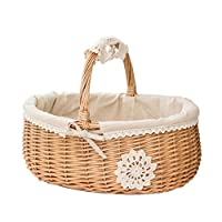 Sliveal Picnic Wicker Basket Willow Wicker Shopping Basket Handbag Shaped High Handle Display Collection Gift Basket Fabric Lining Storage Box Picnic Fruit Basket