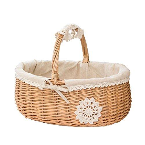 Sliveal Picknickkorb Weidenkorb Willow Wicker Einkaufskörbe Handtasche Shaped High Handle Anzeigen Sammlung Geschenkkorb Stoff Futter Aufbewahrungsbox Picknick Obstkorb -