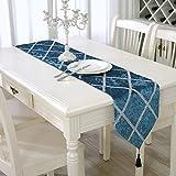 Elegante Borla clásico purpurina Camino de mesa color plateado brillante, poliéster, azul, 11 x 83 inch