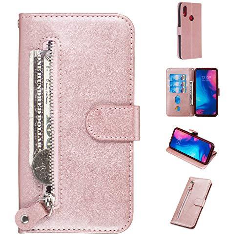 Ostop Handyhülle für Xiaomi Redmi 7,Rosegold Reißverschluss Brieftasche Hülle Slim PU Leder Tasche Klappbar Magnetisch Flip Case Schutzhülle mit Kartenfach Standfunktion für Xiaomi Redmi 7 -
