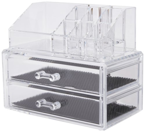 2-drawers organizer with holder;Made out of polystyrene;It offers smart ideas to store make-up and jewellery;Available in a transparent colour;Measures 18.8cm length by 11.7cm width by 15.8cm height