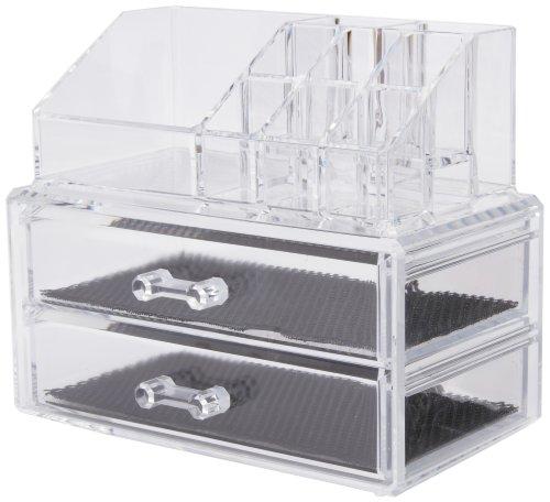 Compactor caja organizadora - 2 cajones joyero y cosméticos, transparente