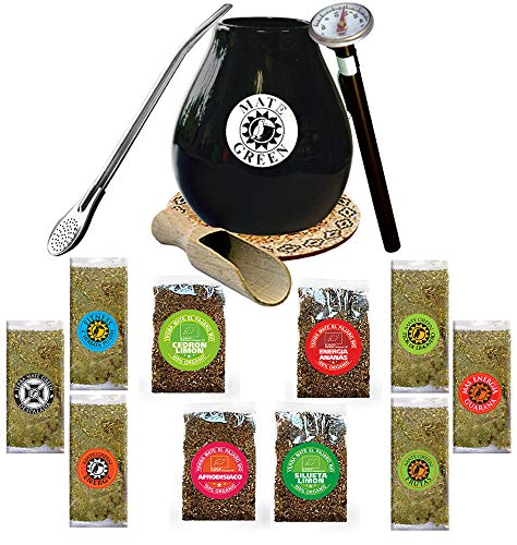 Starter Satz für Mate Tee Trinken: Becher, Bombilla Trinkhalm 19cm, Schaufel, Korkscheibe, Thermometer und Mate-Tee Proben Kit