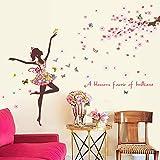 Kibi Romantique Dansant Fille Fleur Fée Papillon Amovible Stickers Muraux Autocollants, Enfants Bébé Chambre Pépinière DIY Décoratif Autocollants de Fée de Fleur de Papillon