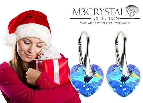 Premium Earrings with Swarovski Crystals in Tested Quality from M3Crystal 925 Sterling Silver, 14mm Heart Fashion Jewellery Gift for Women and Girls Birthday Christmas Mother's Day