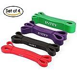 INTEY Fitnessbänder Set Premium Resistance Band aus Naturlatex in 4 verschiedenen Stärken Widerstandsbänder als Widerstand und Unterstützung für Klimmzughilfe mit Übungsanleitung
