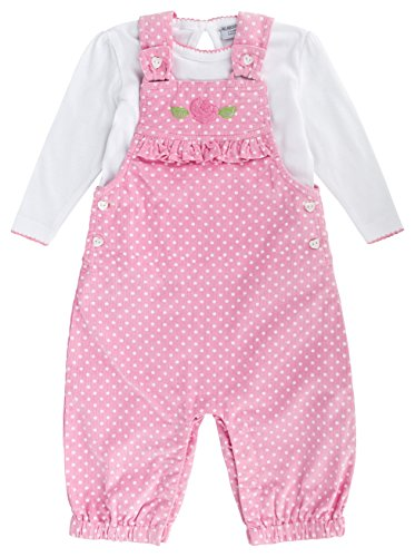 anja-wendt Baby Mädchen Latzhose rosa pink weiß gepunktet Punkte Langarmshirt Set Baumwolle (74-80 (9-12 Mon))