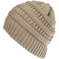 Sombrero de las señoras, sombrero desordenado de la cola de caballo de las señoras sombrero hecho punto gorra de béisbol hecho a mano invierno cálido pelo bollo sombrero elástico ganchillo cola de cab