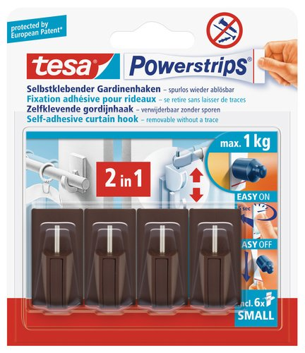 tesa Powerstrips Gardinenhaken, selbstklebend, braun, 4 Stück