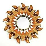 Feng Shui Spiegel Dekospiegel Sonne Ø 30cm aus Holz braun rot gold handbemalt Mosaik, Wanddeko Wandsymbol Symbol Solarplexus, Chi Energie lenken, Dekosonne