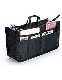 IGNPION Printed Insert Handbag Purse Organiser 13 Pockets Expandable Felt Liner Bag Pouch Zipper Closure Tote Organiser Diaper Bag Insert with Handle