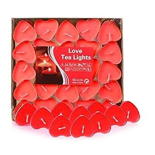 Adkwse 50er herzförmige Kerzen, rauchfreie Teelichter, für Geburtstag, Vorschlag, Hochzeit, Party, Rot, Hochzeit Verlobung, Valentinstag (Rot)