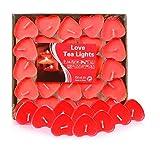 Adkwse 50er herzförmige Kerzen, rauchfreie Teelichter, für Geburtstag, Vorschlag,Hochzeit,Party, Rot, Hochzeit Verlobung, Valentinstag (Rot)