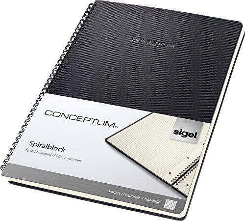 Sigel CO820 Blocco spiralato CONCEPTUM, copertina rigida, 160 pagine a quadretti, circa A4, nero