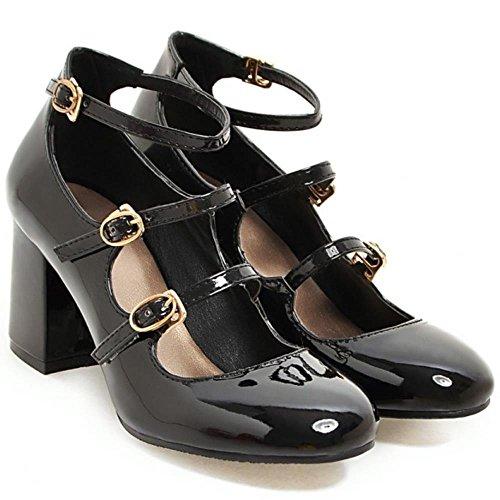COOLCEPT Femmes Classique Strappy Court Chaussures Bloc Talons hauts Dame Mary Janes Escarpins Noir