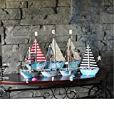 KESOTO 3 Stück Holz Segelschiff Deko Maritim Dekoartikel MEER Schiff Boot - 9