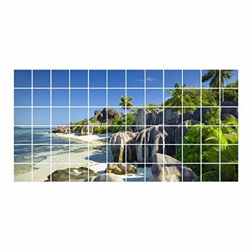 Bilderwelten Fliesenbild - Traumstrand Seychellen - Fliesensticker Set, Fliesengröße: 15 cm x 20...