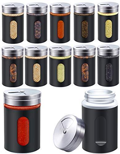 Praknu 12 Gewürzstreuer Schwarz 80ml aus Edelstahl mit Sichtfenster und 3-Fach Streuregulierung - Spülmaschinenfest