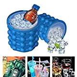 #7: PrimeBox Silicone Ice Cube Maker Bucket Revolutionary Space Saving Ice-Ball Makers for Home Buffets Ice-Cube Tray, 3.8 x 4.1 Inches (Blue)