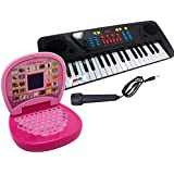GRAPPLE DEALS Combo Of 37 Keys Piano Musical Instrument And Mini Laptop Educational Learning Toy For Kids.
