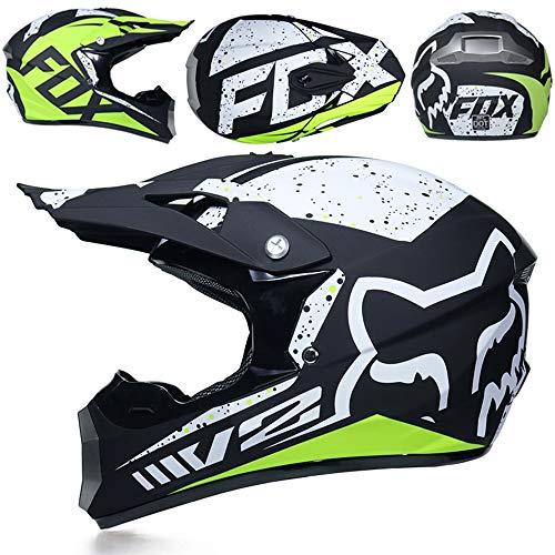 CFYBAO Pesonality Downhill-Helm-Geschenkbrille Maskenhandschuhe Mountainbike-Rennhelm für Damen und Herren,E,L