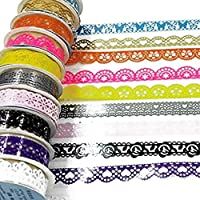 7pcs Cintas Adhesivas Glitter Encaje, diseño Ondulado Tuercas Bandas Varios de Encaje para el Bricolaje Manualidades, Scrapbooking decoración Color Mixta