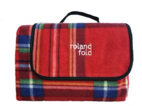 Luxe Rouge Tartan pliante portable imperméable en polaire/Peva 120 x 150 cm Housse Couverture de pique-nique Camping Tapis Tapis
