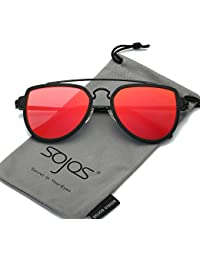 SOJOS Fashion Aviator Unisex Sunglasses Flat Mirrored Lens Double Bridge SJ1051