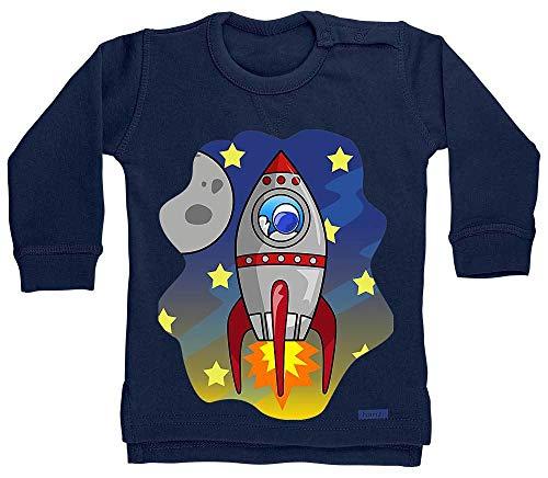 HARIZ Baby Pullover Rakete Im Weltall Astronaut Mond Planet Inkl. Geschenk Karte Matrosen Dunkel Blau 24-36 Monate