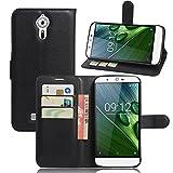 Tasche für Acer Liquid Zest Plus (5.5 zoll) Hülle, Ycloud PU Ledertasche Flip Cover Wallet Case Handyhülle mit Stand Function Credit Card Slots Bookstyle Purse Design schwarz