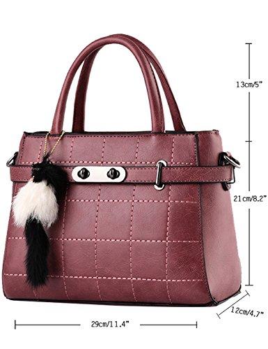 Menschwear Leather Tote Bag lucida PU nuove signore borsa a tracolla Vino Rosso Buio Rosso