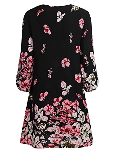 BAISHENGGT Damen Tunika Strandkleid Minikleid Vintage Bohemian Kleider Schwarz-Rosa