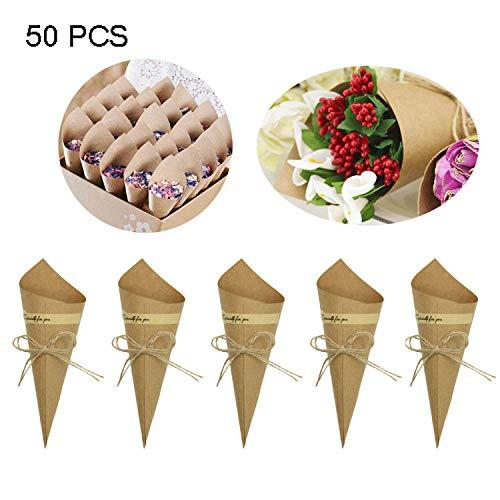 Mardozon 50 pz retro kraft carta coni bouquet caramella cioccolato borse scatole matrimonio partito regali imballaggio con canapa corde etichetta adesivi
