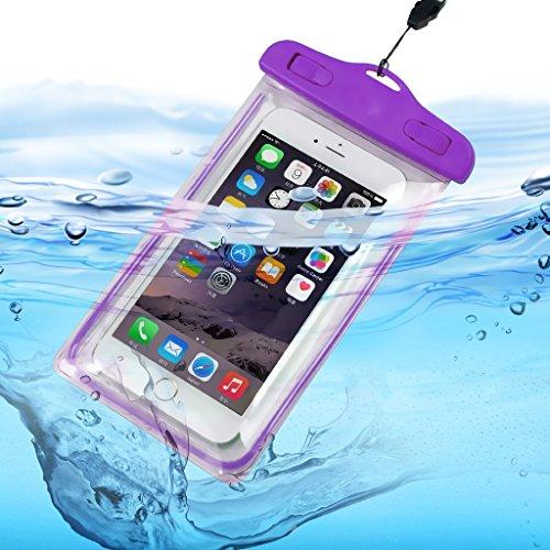 ONX3 (Lila) Alcatel Pixi Theatre Universal-Transparent Bewegliche Zelle Smartphone, Pass, Geld Wasser Wasserdichte Schutztasche Touch-Responsive (Mobile Theatre)