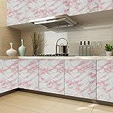 KINLO Möbelfolie Marmor Design Weiß-Rosa 5x0.61M Küchefolie Wasser PVC Ölabweisung selbstklebefolie Schrankfolie Möbelfolie Dekofolie für Küchenschrank Möbel