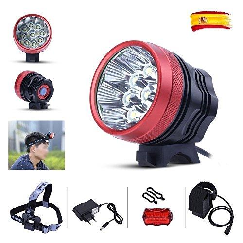 GHB Lampe VTT Lampe Vélo Eclairage LED VTT Phare Avant Vélo Puissante Rechargeable Etanche 12000 LM 9 XM-L T6 de 3 Mode de lumière + 6* 18650 Batteries + Chargeur+Bandeau réglable+Phare arrière