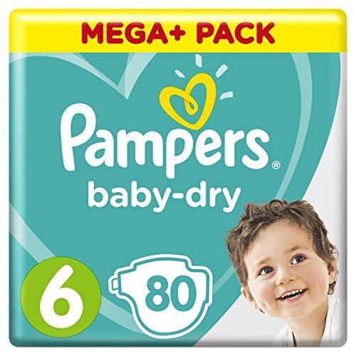 Pampers Baby-Dry Windeln Größe6 (13-18kg), Luftkanäle für atmungsaktive Trockenheit die ganze Nacht, Mega Plus Pack, 1er Pack (1 x 80 Stück)