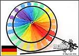 Wunderschönes Windrad | Rainbow in leuchtenden Farben | 2018 | Durchmesser 40cm | Länge 100cm | wetterbeständig | Windspiel | Windmühle | Windturbine | Magic Wheel twin | mit stabilem 80cm Stab | Regenbogen | Wind | Expressversand | molinoRC® BRD
