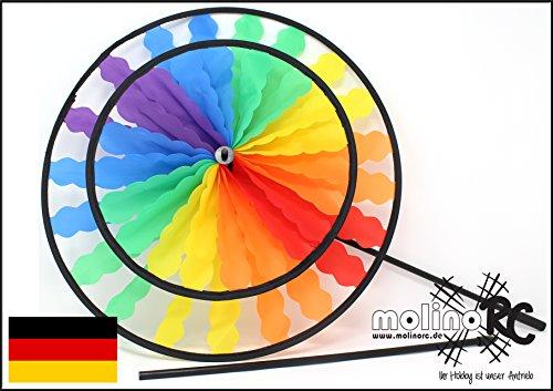 molinoRC Wunderschönes Windrad | Rainbow in leuchtenden Farben | Durchmesser 40cm | Länge 100cm | wetterbeständig | Windspiel | Windmühle | Windturbine | Magic Wheel Twin | mit stabilem 80cm Stab BRD