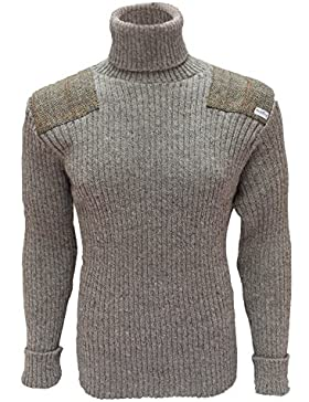 Niffi Ecosse Roll cuello Jersey | Harris Tweed parches | 100% British lana | # 14132