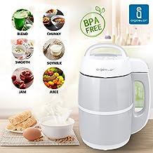 Aigostar Beanbaby Silvery & White 30IMW - Máquina de leche vegetal, 1'7 litros, acero inoxidable, alta calidad y resistencia.