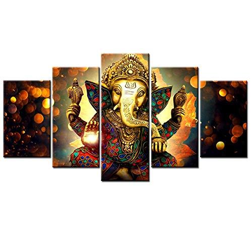 ZHAOLV Frameless Leinwand 5 Verkleidungs-Wand-Kunst-Modular Bild Print Hindu Götter Öl Große Ganesha Poster for Wohnzimmer-Wand Wohnkultur No Frame Malerei Hang Gemälde (Size (Inch) : 70x125cm) -