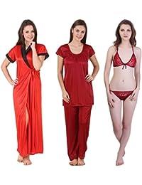 Freely Multicolor Satin Full Robe, Nightsuit & Lingerie Set - Pack of 3