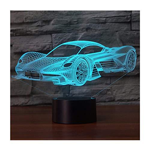 3D Lámpara óptico Illusions Luz Nocturna, EASEHOME LED Lámpara de Mesa Luces de Noche para Niños Decoración Tabla Lámpara de Escritorio 7 Colores Cambio de Botón Táctil y Cable USB, Coche de Carreras